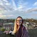 Arcadia University student RaeAnn Topa overlooking a city scape